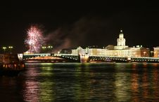 Firework In Saint Petersburg Royalty Free Stock Photo