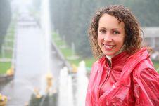 Woman On Large Cascade In Peterhof Stock Image