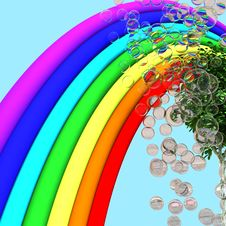 Rainbow, Tree And Soap Bubbles Royalty Free Stock Images