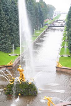 Free Channel With Fountain In Peterhof Royalty Free Stock Image - 7890136