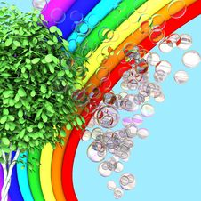 Rainbow, Tree And Soap Bubbles Royalty Free Stock Image