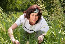 Free Young Woman In Grass Royalty Free Stock Images - 7890609