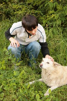Free Fellow Caresses By Hand Dog Royalty Free Stock Photos - 7890628