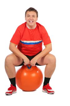 Free Man Sitting On A Fitness Sphere. Royalty Free Stock Photos - 7891268