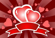 Free Two Hearts With Ribbon Stock Photo - 7891570