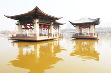 The Two Pavilions In The Water Stock Photo