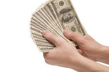 Free Male Hands With Money On White Background Stock Photography - 7893872