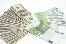 Free Many Euro And Dollars On White Background Stock Photo - 7893930