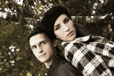 Free Loving Couple In An Autumnal Park Stock Image - 7894161