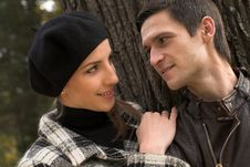 Free Loving Couple In An Autumnal Park Stock Image - 7894221