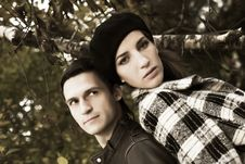 Free Loving Couple In Autumnal Park Stock Image - 7894451