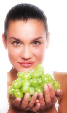 Girl With Grape Stock Photos