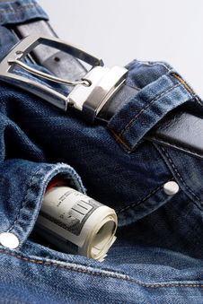 American Dollars In Jeans Pocket Royalty Free Stock Photo