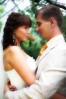 Wedding Couple Outdoor Stock Image