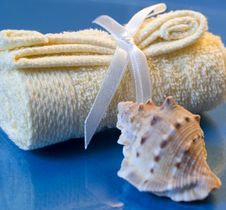 Free Towel Spa And Sea Shell Royalty Free Stock Photography - 7895197