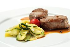 Free Veal Medallions With Zucchini Stock Images - 7896474
