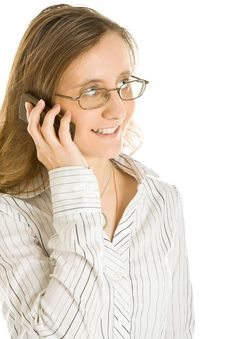 Free Young Business Woman With A Cell Phone Royalty Free Stock Images - 7896769