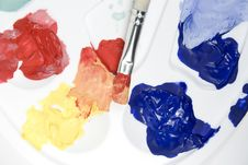 Free Palette With Paints And Paintbrush Royalty Free Stock Image - 7896826