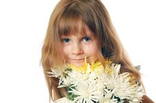 Girl With Chrysanthemums Stock Photos
