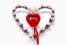 Free Beautiful Heart From Artificial Flowers. Royalty Free Stock Photography - 7898767