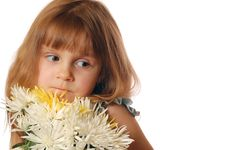 Girl With Chrysanthemums Royalty Free Stock Image