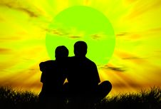 Free Lovers At Sunset Royalty Free Stock Image - 7898916