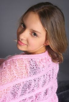 Portrait Of Teenage Girl With Pink Shawl Stock Image