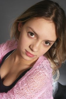 Portrait Of Teenage Girl With Pink Shawl Stock Images
