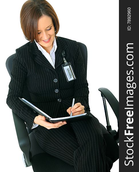 Female Working Businesswoman On Chair