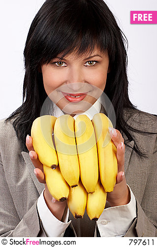Free Woman And Banana Diet Stock Image - 797611