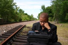Free Writer On The Tracks Royalty Free Stock Photo - 790705