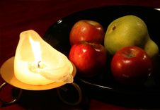 Free Red Apples, A Pear And A Candle Stock Photo - 791720