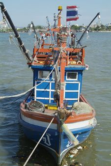 Blue, Wooden Fishing Boat Royalty Free Stock Photography