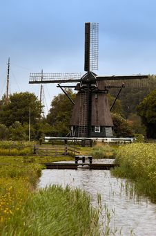 Old Dutch Windmill Stock Photo