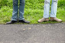 Free Standing Legs Over Track Royalty Free Stock Photo - 792225