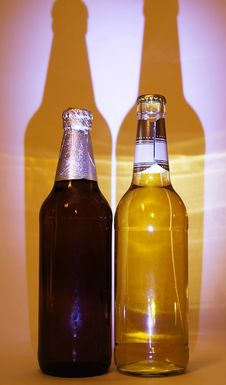 Free Two Bottles With Light And Dark Beer Royalty Free Stock Images - 794079