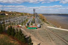 Electric Power Station And River Royalty Free Stock Images