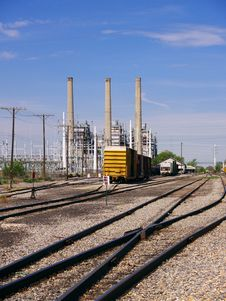 Rail Lines Run Across A Desolate Industrial Area Stock Images
