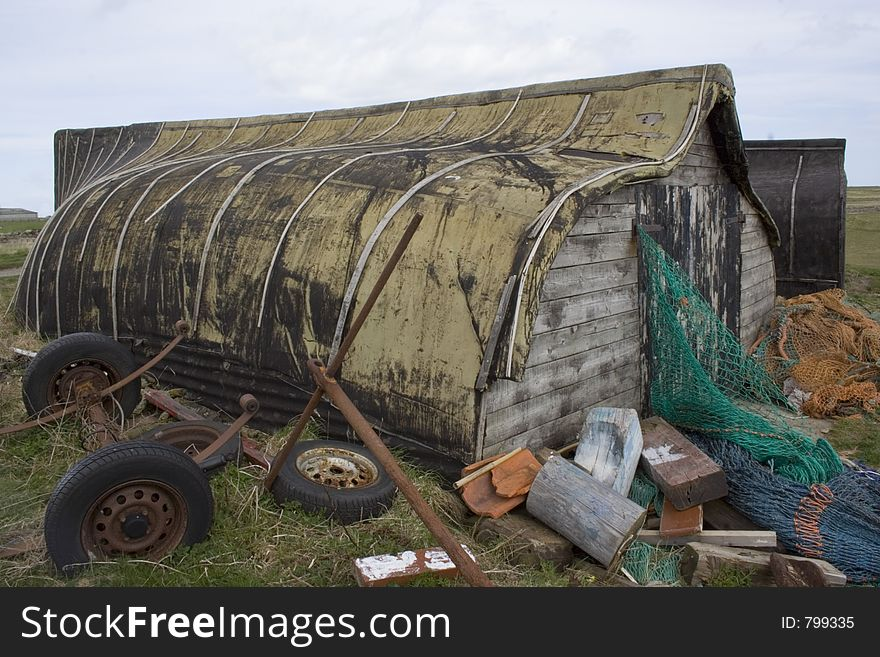 Fishermans shack, Lindesfarne, Northumbria, UK.