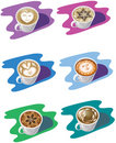 Free Six Cups Of Cappuccino Royalty Free Stock Images - 7900609