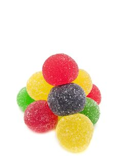 Free Sweet Fruit Color Candy On White Royalty Free Stock Photos - 7900748