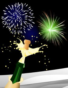 Free Champagne And Fireworks Stock Photo - 7900920
