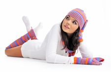 Free Winter Fashion Girl Isolated On White Background Stock Photo - 7901040
