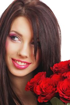 Free Woman With Red Rose Stock Photo - 7901240