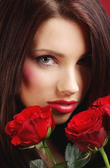Free Woman With Red Rose Royalty Free Stock Photos - 7901288