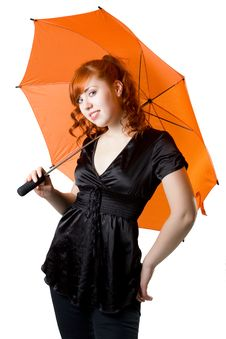 Free Red-haired Girl With An Umbrella Royalty Free Stock Image - 7901326