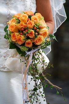 Free Bride Holds A Beautiful Bouquet Of Roses Stock Photo - 7901350