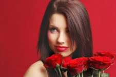 Free Woman With Red Rose Royalty Free Stock Image - 7901466