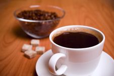 Cup Of Coffee, Sugar And Beans Stock Photos