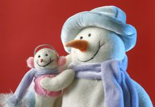 Free Snowman With His Baby Royalty Free Stock Images - 7902059